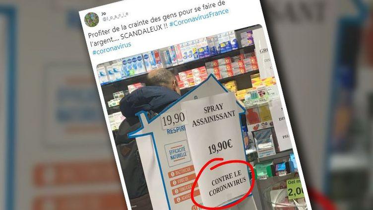 """Le tweet qui affirme qu'une pharmacie propose un médicament """"contre le coronavirus"""". (CAPTURE D'ECRAN TWITTER)"""