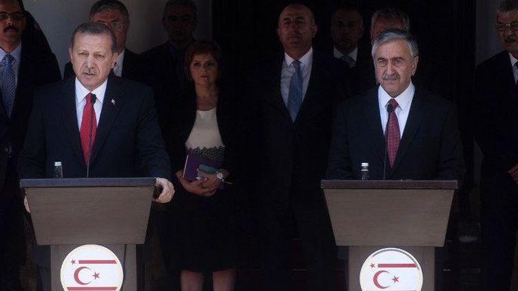Le président turc Erdogan a «maudit»les auteurs de l'attentat de Suruç depuis Chypre, où il se trouvait en visite chez le dirigeant chypriote-turc Mustafa Akinci, le 20 juillet 2015. (IAKOVOS HATZISTAVROU / AFP)