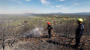 Les pompiers restent vigilants, au lendemain de l'incendie qui a touché la commune de Seillons-Source-d'Argens, dans le Var, le 26 juillet 2017. (DOMINIQUE LERICHE / MAXPPP)