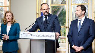 La ministre de la Justice, Nicole Belloubet, le Premier ministre, Ecouard Philippe, et le ministre de l'Intérieur, Christophe Castaner, le 18 mars 2019 à l'hôtel Matignon, à Paris. (BERTRAND GUAY / AFP)