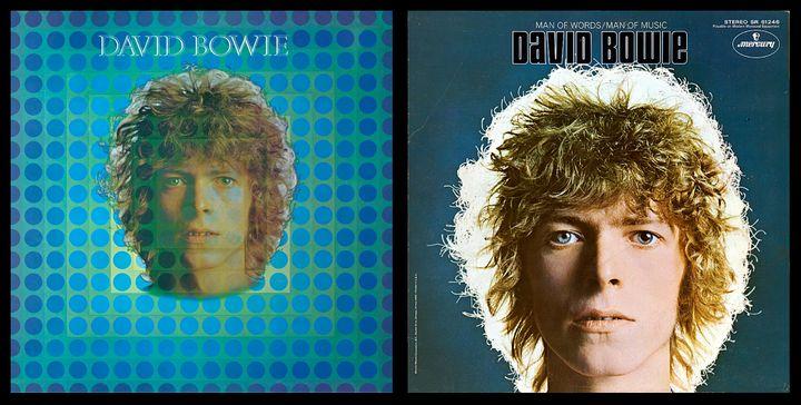 """La pochette originale anglaise de """"Space Oddity"""" (1969) de David Bowie, et la version américaine de laquelle l'oeuvre de Vasarely a été expurgée. (PHILIPS - MERCURY)"""
