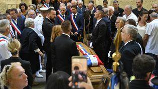 La cérémonie d'hommage à Jean-Mathieu Michel, maire de Signes (Var), le 9 août 2019. (GERARD JULIEN / AFP)
