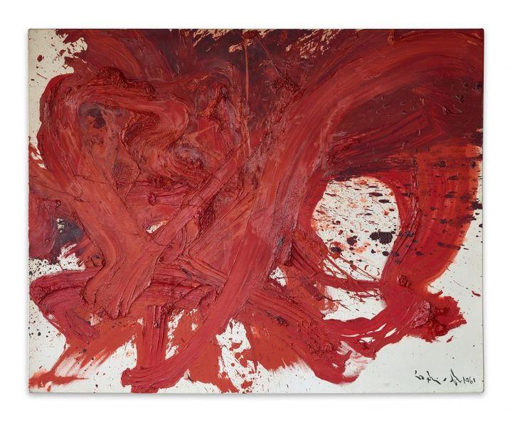 Kazuo Shiraga,Chizensei Kirenji[Le combattant chinois Du Xing dit Face de Démon], 1961.Huile sur toile, 130 × 162 cm (© The Estate of Kazuo Shiraga.Courtesy of Fergus McCaffrey, New York / St. Barth. © Jan Liégeois / courtesy Axel & May Vervoordt Foundation)