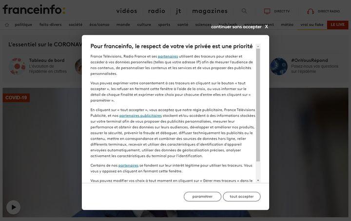 Fenêtre apparaissant lors d'une première connexion sur le site franceinfo.fr, recueillant le consentement de l'internaute à propos des traceurs (ou cookies), en avril 2021. (FRANCEINFO)