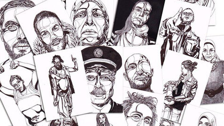 """Les portraits de protestataires réalisés pour le projet """"Small is Big""""  (Mahn Kloix)"""