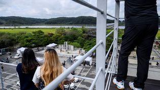 La frontière entre les deux Corées, près de la zone démilitarisée de Paju, le 21 septembre 2021. (ANTHONY WALLACE / AFP)