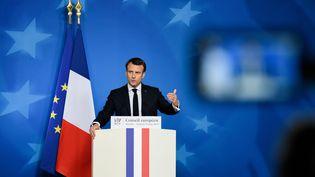 Le président de la République, Emmanuel Macron, le 22 mars 2019 à Bruxelles (Belgique). (RICCARDO PAREGGIANI / NURPHOTO / AFP)