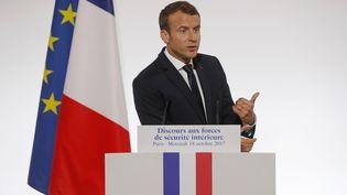 Emmanuel Macron lors de son discours sur la sécurité, à l'Elysée, mercredi 18 octobre 2017. (AFP)