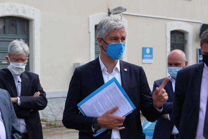Laurent Wauquiez, le 3 juin 2021 àLépin-le-Lac (Savoie). (ROBIN PRUDENT / FRANCEINFO)