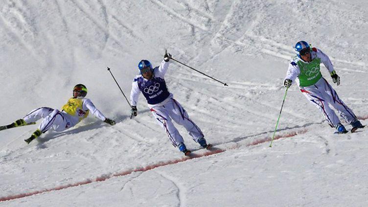 Le triplé des Français Chapuis, Bovolenta et Midol en skicross (ALEXANDER KLEIN / AFP)