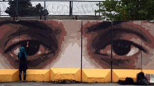 Maryam, une street artist kaboulie, peint des yeux géants sur un mur de Kaboul, pour dénoncer la corruption en Afhanistan.  (WAKIL KOHSAR / AFP)