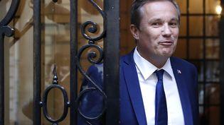Nicolas Dupont-Aignan, le 28 avril 2017, à Paris. (Photo d'illustration) (PATRICK KOVARIK / AFP)
