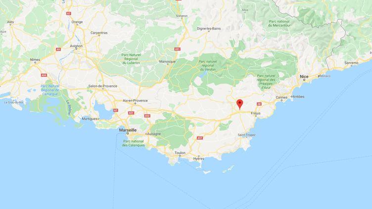 Une personne est portée disparue après être tombée à l'eau lors d'une opération de sauvetage au Muy, dans le Var, le 23 novembre 2019. (GOOGLE MAPS)