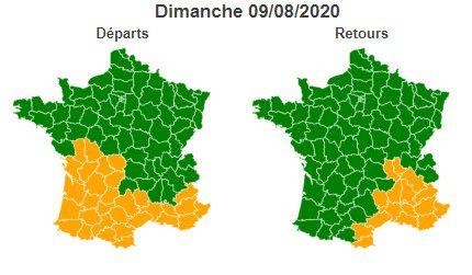 La journée du dimanche 5 août 2020 est classée verte au niveau national dans le sens des retours mais orange en région Auvergne-Rhône-Alpes et sur le pourtour méditerranéen. (BISON FUTE)