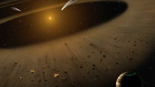 Vue d'artiste du systèmeEpsilon Eridani, qui se trouve à 10,5 années-lumière de la Terre. (LYNETTE COOK / NASA)
