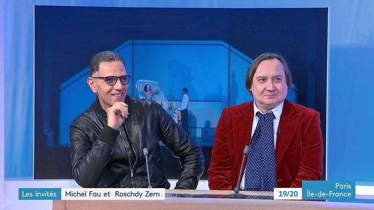 Roschdy Zem et Michel Fau invités sur le plateau de France 3 Paris pour la pièce Trahisons mise en scène au théâtre de la Madeleine (France 3 Paris Ile de France)