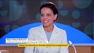 L'ancienne ministre de l'Éducation nationale et actuelle directrice de l'ONG One, Najat Vallaud-Belkacem, le 22 septembre sur la chaîne franceinfo. (FRANCEINFO)