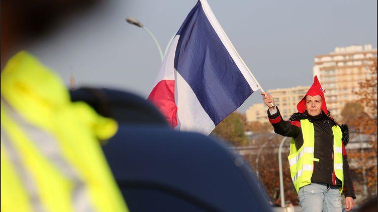 """Une """"gilet jaune"""" lors d'une manifestation à Paris, le 17 novembre 2018. (LUC NOBOUT / MAXPPP)"""