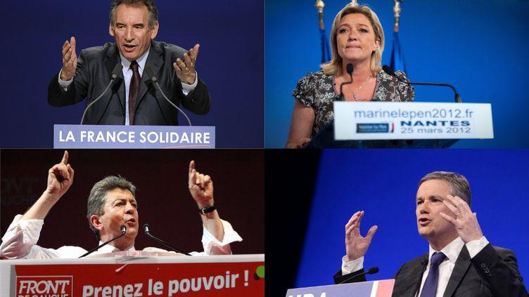 François Bayrou, Marine Le Pen, Jean-Luc Mélenchon et Nicolas Dupont-Aignan ont tenu meeting dimanche 25 mars 2012. (AFP/ MONTAGE FTVI)