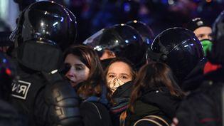 Lors d'une manifestation de soutien à Alexeï Navalny, mardi 2 février 2021 à Moscou (Russie). (KIRILL KUDRYAVTSEV / AFP)