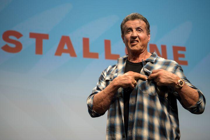 """""""Sly"""" a profité de cette masterclass pour présenter les premières images du film """"Rambo V : Last Blood"""". (LOIC VENANCE / AFP)"""