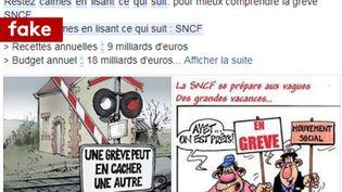Un texte partagé sur Facebook affirme à tort que les cheminots touchent une prime charbon. (CAPTURE D'ECRAN/FACEBOOK)