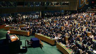 Le secrétaire d'Etat américain, John Kerry, prend la parole à la tribune du siège des Nations unies, le 22 avril 2016, à New York (Etats-Unis). (SPENCER PLATT / GETTY IMAGES NORTH AMERICA / AFP)
