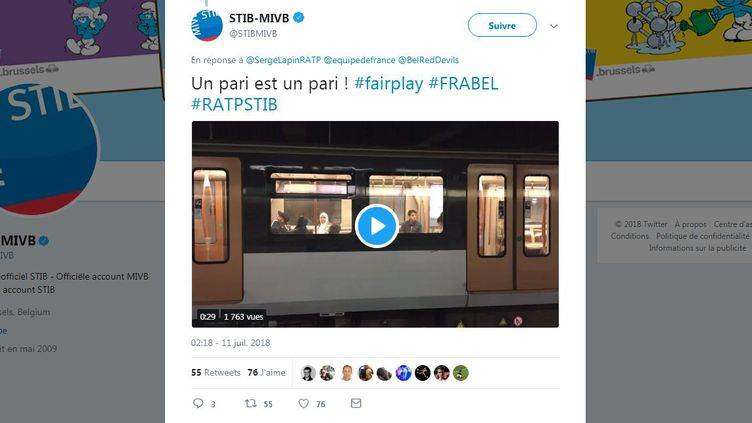 """Le métro bruxellois a diffusé l'hymne des Bleus, """"Tous ensemble"""" de Johnny Hallyday, mercredi 11 juillet. (STIBMIVB / TWITTER)"""