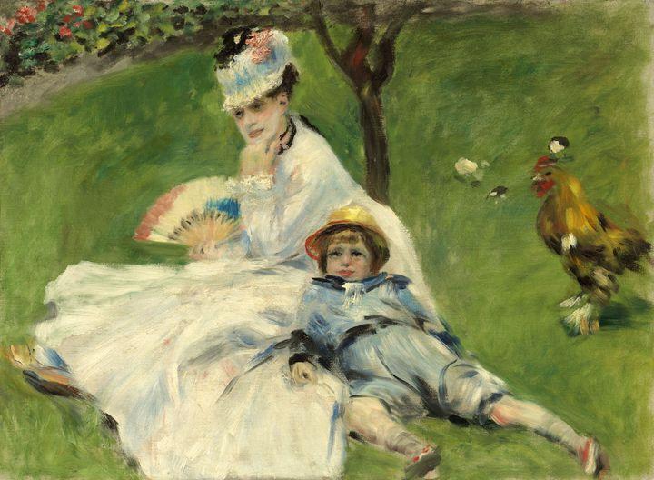 """Pierre-Auguste Renoir, """"Mme Monet et son fils Jean dans le jardin à Argenteuil"""", juillet 1874  (© Washington, National Gallery of Art, legs Ailsa Mellon Bruce, 1970 © Courtesy Washington, National Gallery of Art )"""