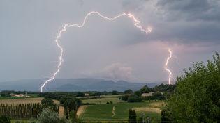 Un orage en Ardèche, le 12 février 2020. (XAVIER DELORME / BIOSPHOTO / AFP)