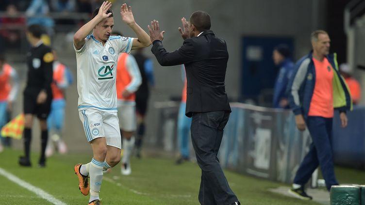 Florian Thauvin, unique buteur de la partie pour l'OM (PATRICK HERTZOG / AFP)