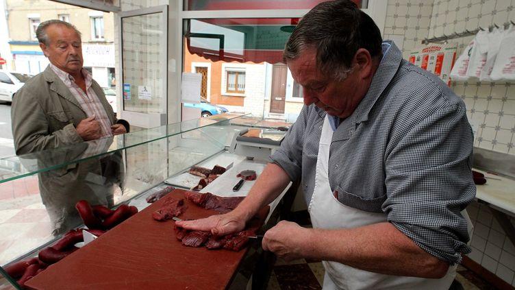La boucherie chevaline Huchin-Prince à Calais (Pas-de-Calais), le 19 août 2011. ( MAXPPP)