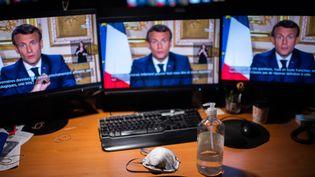 Le président de la République, Emmanuel Macron, le 13 avril 2020, lors de sa quatrième allocution sur la crise du coronavirus. (MARTIN BUREAU / AFP)