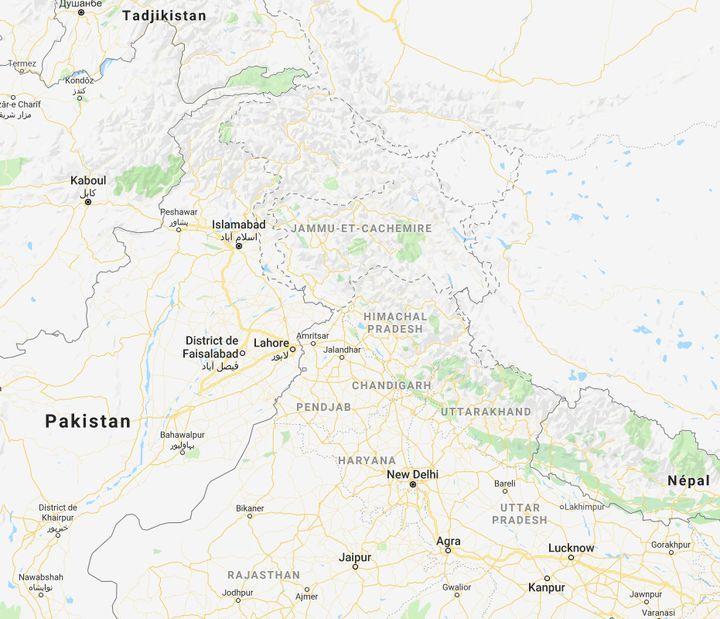La région du Cachemire fait l'objet de conflits entre le Pakistan et l'Inde depuis la partition de l'empire colonial. (CAPTURE ECRAN GOOGLE MAPS)