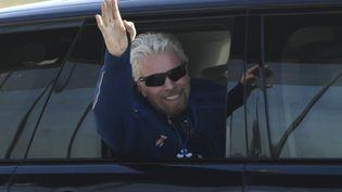 Le milliardaire Richard Branson arrive à la base Spaceport America, au Nouveau-Mexique (Etats-Unis), le 11 juillet 2021. (PATRICK T. FALLON / AFP)