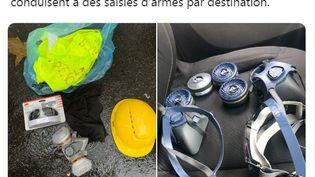 """Les """"armes par destination"""" photographiées par la préfecture de police, le 16 novembre 2019 à Paris. (PREFECTURE DE POLICE / TWITTER.COM)"""