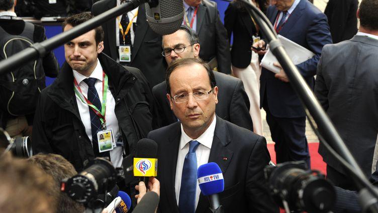 François Hollande au sommet informel européen en Belgique, mercredi 23 mai 2012. (JOHN THYS / AFP)