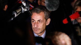 Nicolas Sarkozy, lors du rassemblement contre l'antisémitisme, place de la République à Paris, le 19 février 2019. (LAURE BOYER / HANS LUCAS)