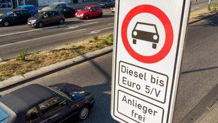 Un panneau marquant l'interdiction aux véhicules diesel anciens (Euro 5) à Hambourg (Allemagne). (DANIEL BOCKWOLDT / DPA / AFP)