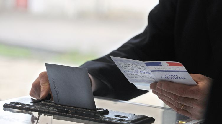 Un assesseur s'apprête à valider un bulletin de vote, le 14 mars 2010, à La Teste. (JEAN-PIERRE MULLER / AFP)