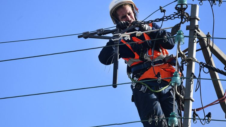 Un technicien Enedis répare un fil électrique, le 21 octobre 2021, àPlozévet (Finistère). (FRED TANNEAU / AFP)
