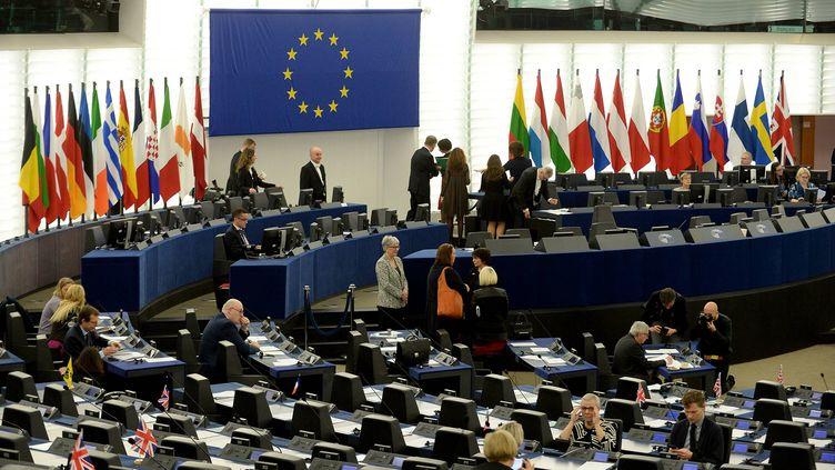 L'hémicyle du Parlement européen de Strasbourg, le 17 avril 2019. (MARC OLLIVIER / MAXPPP)