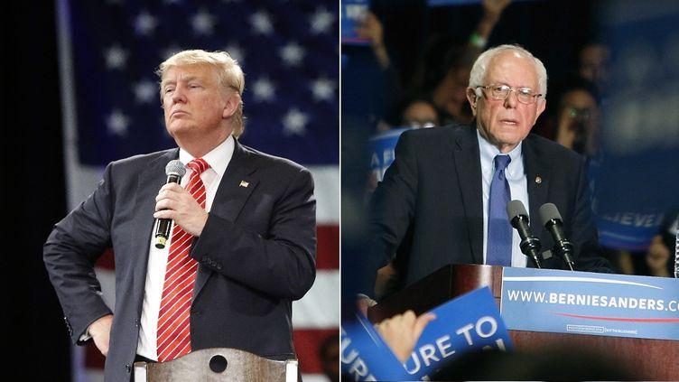 Donald Trump, candidat aux primaires républicaines, et Bernie Sanders, candidats aux primaires démocrates, en mars 2016. (AFP / FRANCETV INFO)