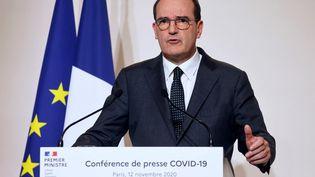 Le Premier ministre Jean Castex, lors de sa conférence de presse du 12 novembre 2020 à Paris. (LUDOVIC MARIN / POOL)