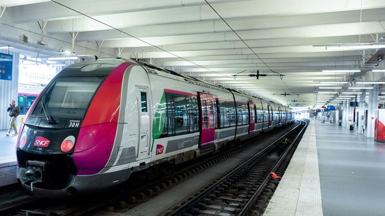 Un Transilien en gare du Nord à Paris, le 4 décembre 2019. (EDOUARD RICHARD / HANS LUCAS / AFP)