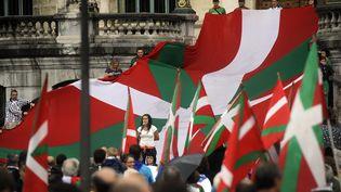 Des séparatistes basques, lors d'une manifestation à Bilbao le 22 août 2014 (RAFA RIVAS / AFP)