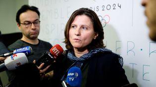 La ministre des Sports, Roxana Maracineanu, lors d'une réunion du comité organisateur des JO 2024, le 12 décembre 2019 à Paris. (THOMAS SAMSON / AFP)
