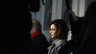 Elisabeth Fouquet, lors du procès des neufs personnes jugées pour le braquage qui a coûté la vie à sa fille Aurelie Fouquet, le 1er mars 2016, à Paris. (ALAIN JOCARD / AFP)