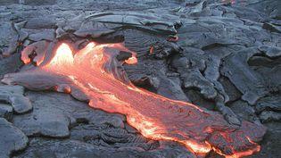 La coulée de lave d'un volcan en éruption sur l'île de Hawaï (Etats-Unis), le 27 juillet 2002. (USGS / AFP)