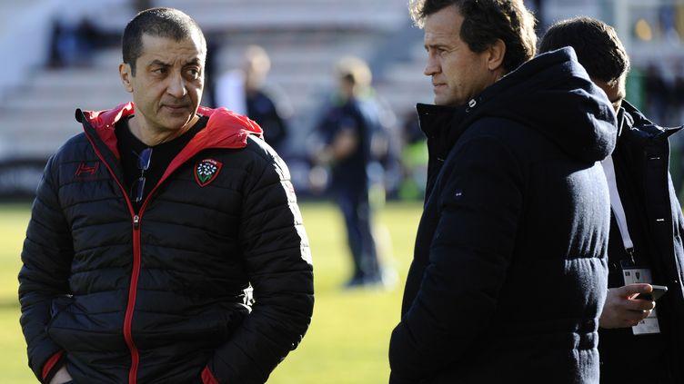 Fabien Galthié à côté du président du RCT, Mourad Boudjelall (FRANCK PENNANT / AFP)